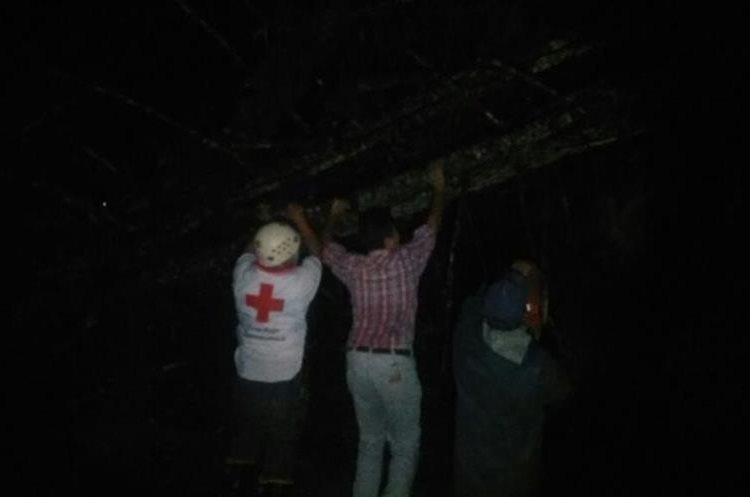 Socorristas y vecinos retiran árboles derribados por vientos en Cobán. Foto Prensa Libre:@CRGuatemalteca.