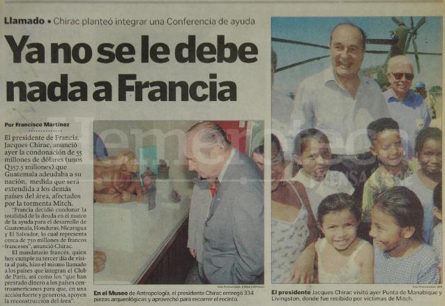 Nota informativa sobre la condonación de la deuda de Guatemala con Francia como ayuda a la reconstrucción del país por la Tormenta Mitch en 1998. (Foto: Hemeroteca PL)