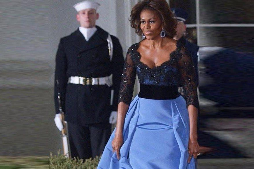 Michelle Obama, mostró su glamur con un vestido de Carolina Herrera. (Foto Prensa Libre: Hemeroteca PL).