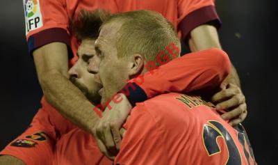 Jeremy Mathieu fue el salvador del FC Barcelona al anotar el único gol ante el Celta de Vigo. (Foto Prensa Libre: AFP)