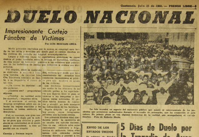 Nota informativa del 15 de julio de 1960 sobre el masivo sepelio de las víctimas del incendio del manicomio. (Foto: Hemeroteca PL)