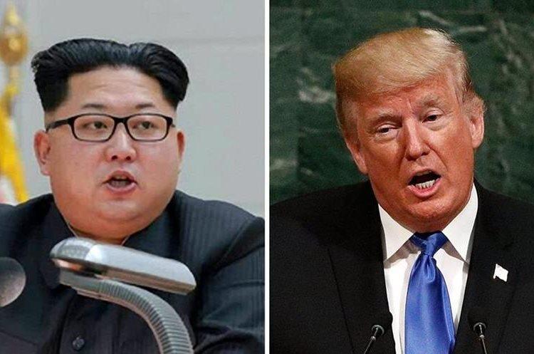 El líder norcoreano, Kim Jong Un, y el mandatario de EE. UU., Donanld Trump, han aumentado las diferencias por ensayos nucleares. (Foto Prensa Libre: EFE)