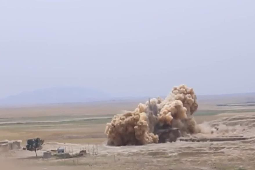 Momento de la explosión del templo Nabu en Nimrod, Irak. (Youtube)
