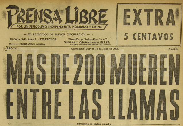 Portada de la edición extra de Prensa Libre del 14 de julio de 1960 informando sobre la tragedia del Hospital Neuropsiquiátrico. (Foto: Hemeroteca PL)