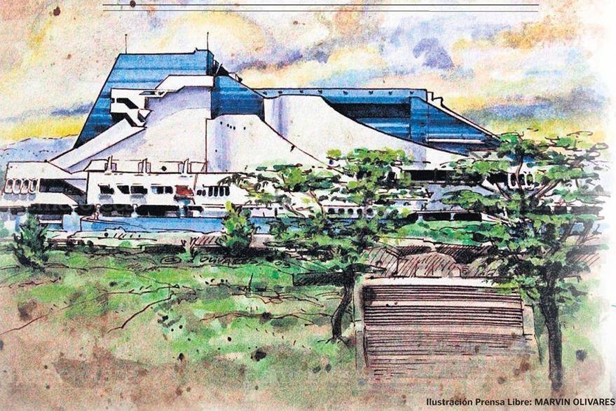 Colina donde se ubica el Centro Cultural Miguel Ángel Asturias. (Ilustración Prensa Libre: Marvin Olivares)