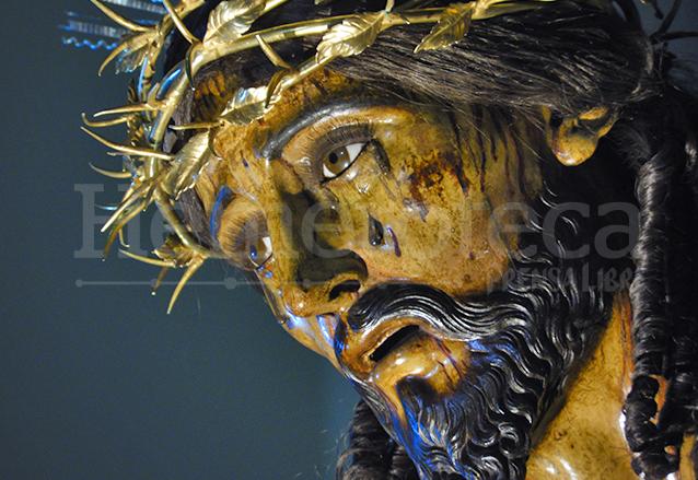 Jesús Nazareno de las Tres Potencias, de la Parroquia Vieja. Uno de los pocos nazarenos que tienen lágrimas en su rostro. (Foto: Néstor Galicia)