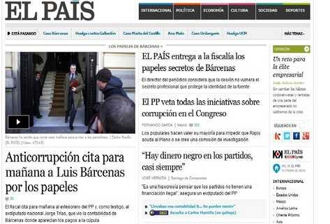 Portada en la web del diario español  El País  donde destaca la entrega de documentos sobre supuestos pagos de sobresueldos bajo la mesa a dirigentes del gobernante Partido Popular. (INTERNET)