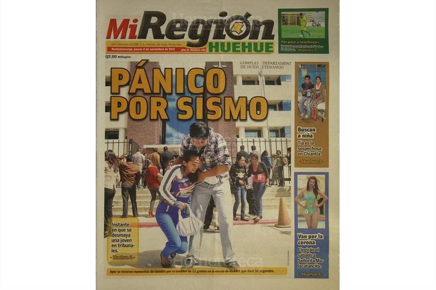 Portada de Mi Región del 8/11/2012, informa sobre el pánico que vivieron los huehuetecos a causa del terremoto. (Foto: Hemeroteca PL)