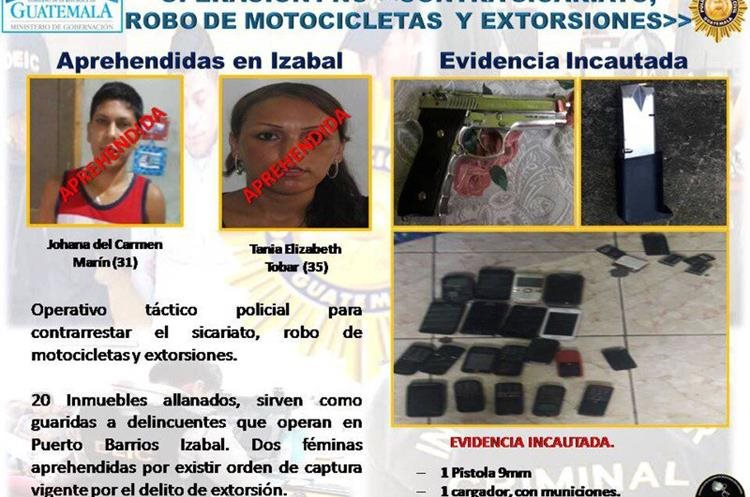 Resultados de los allanamientos ejecutados en Izabal. (Foto Prensa Libre: Roni Pocón)