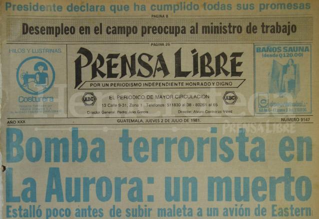 Titular de Prensa Libre del 2 de julio de 1981. (Foto: Hemeroteca PL)