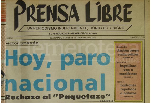 Portada de Prensa Libre del 11/09/1987. (Foto: Hemeroteca PL)