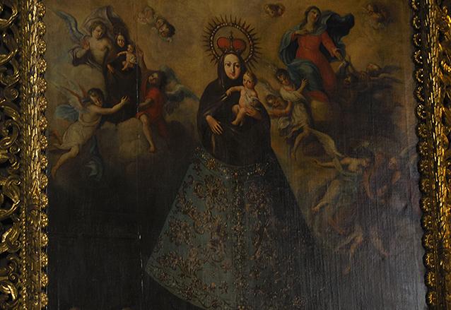 Detalle de la pintura titulada Nuestra Señora del Pilar y que se encuentra en el presbiterio del Templo de Capuchinas.  (Foto: Néstor Galicia)