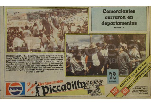 Aspectos de la manifestación convocada por la oposición el 11 de septiembre de 1987 en rechazo a las reformas tributarias. (Foto: Hemeroteca PL)