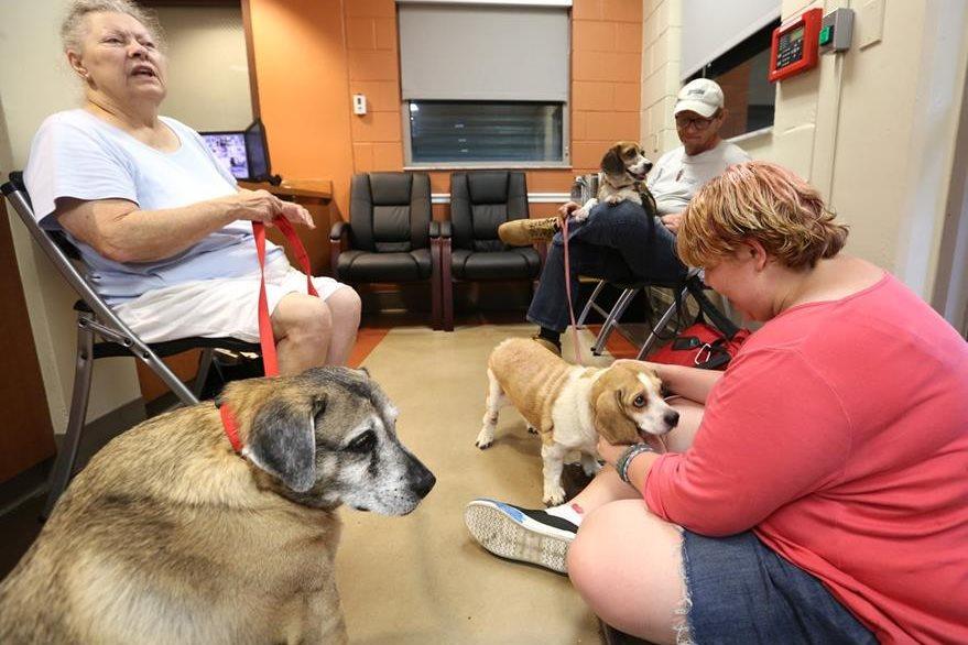 Dueños de mascotas aguardan en un refugio de Florida. (Foto Prensa Libre: AP).