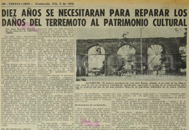 Luego del Terremoto de 1976 creció el interés por restaurar el patrimonio nacional. (Foto: Hemeroteca PL)