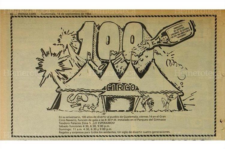 Anuncio  sobre  la celebración de los  100 años del circo Navarro14/9/1984 . (Foto: Hemeroteca PL)