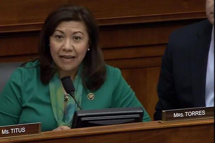 Congresista Norma Torres habla durante la audiencia con el Comité de Relaciones Exteriores. (Foto Prensa Libre: Cortesía)