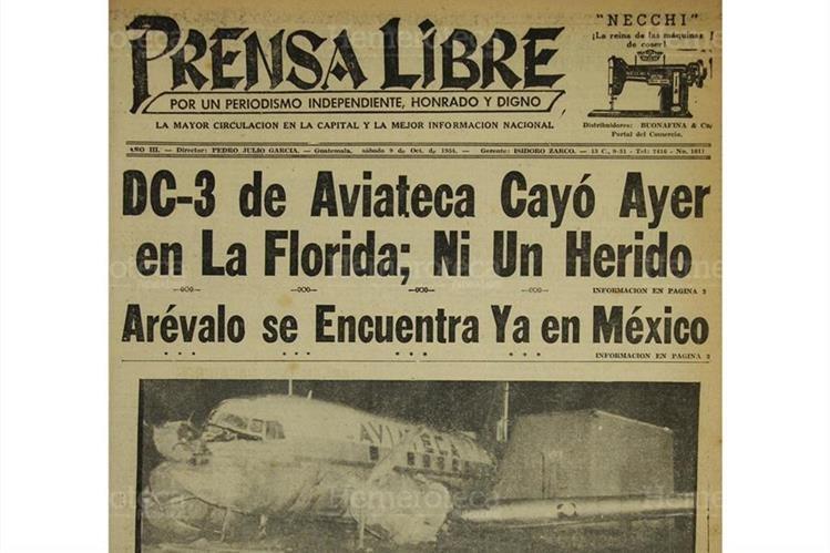 Accidente que sufrió el DC-3 de Aviateca, en la colonia La Florida, el 9/10/1954. Foto: Hemeroteca PL)
