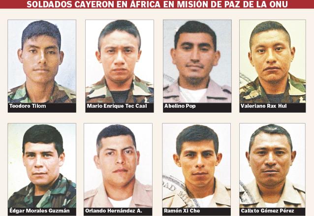 Retratos de los soldados guatemaltecos caídos en Congo, África. (Foto: Hemeroteca PL)