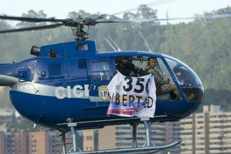 Helicóptero que sobrevoló y desde donde atacaron el Tribunal Supremo de Justicia de Venezuela. (Foto Prensa Libre: El Estímulo).