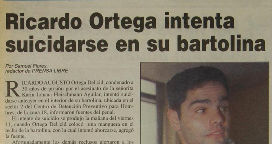 Ricardo Ortega el 14/09/1997 intentó suicidarse con una manguera atada al cuello por la depresión debido a la condena impuesta. (Foto: Hemeroteca PL)