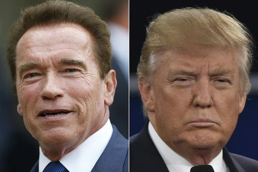 """Schwarzenegger y Trump se enfrentaron debido a la baja audiencia que ha recibido el programa """"El aprendiz"""". (Foto Prensa Libre: AFP)"""