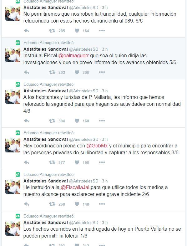 Serie de mensajes que el gobernador de Jalisco, Aristóteles Sandoval envió a través de Twitter. (Foto: Twitter).