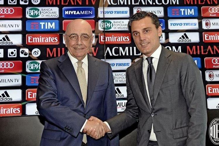 Él técnico Vincenzo Montella en su presentación como nuevo entrenador del AC Milán. (Foto Prensa Libre: AC Milán)
