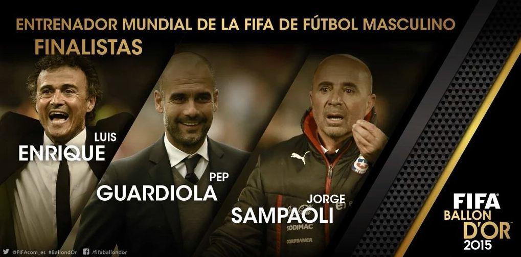 Los españoles Pep Guardiola y Luis Enrique compiten contra el argentino Jorge Sampaoli por el mejor entrenador del año. (Foto Prensa Libre: www.fifa.com)