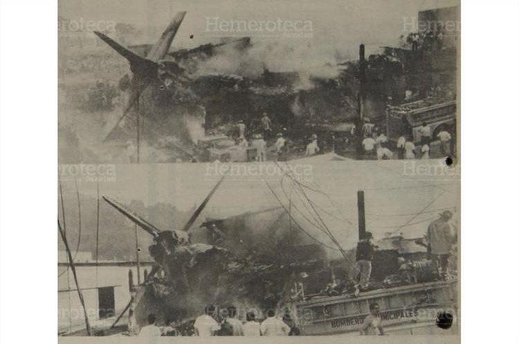 Vistas parciales de la forma en que quedó el fuselaje del avión en las viviendas de la colonia Nueva Montserrat 5/05/1990.(Foto: Hemeroteca PL)