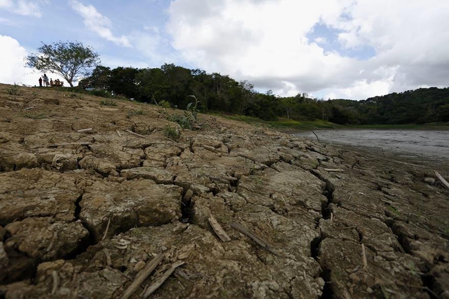 El lago Carraizo, en Puerto Rico bajo su nivel del agua debido a la sequia.