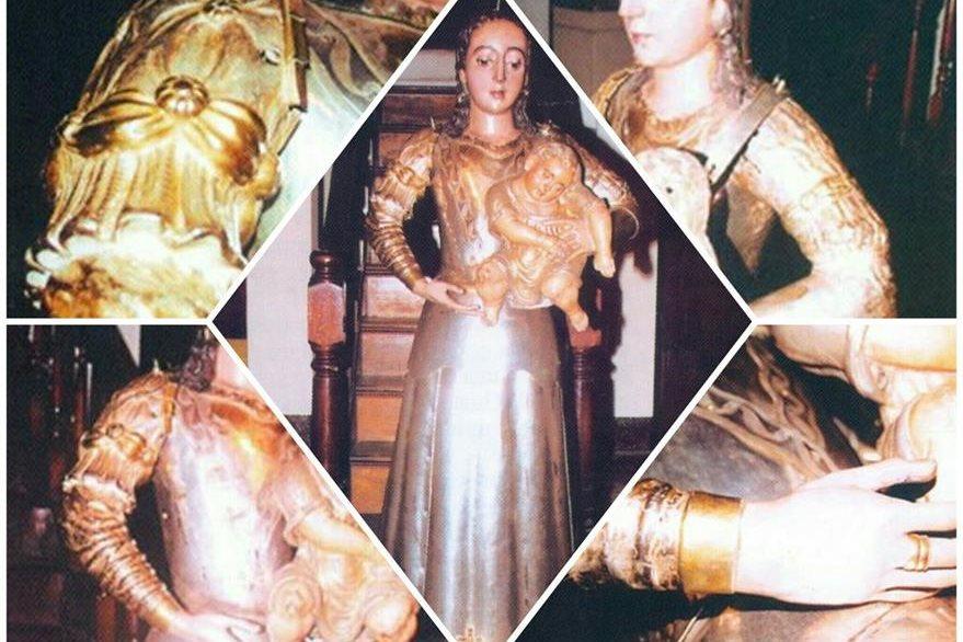 La Virgen del Rosario despojada de sus vestiduras muestra aún  detalles de su estructura original, toda una joya de la platería guatemalteca. (Foto: Cofradía del Rosario)