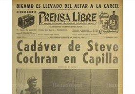 28/06/1965 Portada de Prensa Libre daba a conocer sobre la trágica muerte del actor. (Foto: Hemeroteca PL)