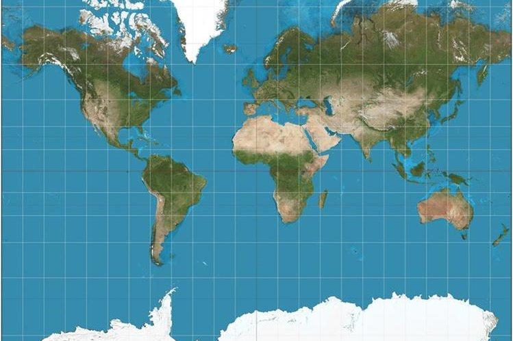 """<span style=""""font-size: 11.9999990463257px;"""">Muchos de los mapas actuales, como el de la imagen, están basados en las proyecciones de Mercator; tienen muchas desproporciones.</span>"""
