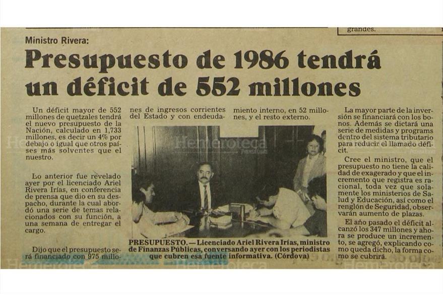 Un ya lejano presupuesto de 1986. (Foto: Hemeroteca PL)