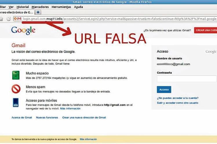 Ejemplo de sitio web falso que pretende hacerse pasar por Gmail. Las extrañas letras que aparecen en el URL no son habituales, lo cual debe ser motivo de desconfianza (Foto: spamloco.net).