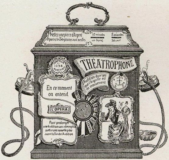 """Un """"Théâtrophone"""" operado por monedas de la década de 1890. (DOMINIO PÚBLICO)."""