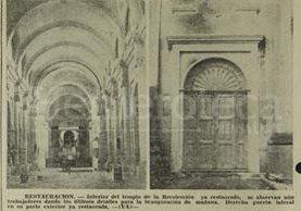 Aspecto de los trabajos de restauración del Templo de la Recolección en 1978. (Foto: Hemeroteca PL)