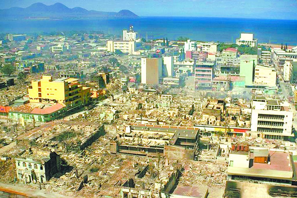 (Imagen de archivo). Vista de Managua tras el terremoto de 1972 que devastó la ciudad. (Foto: http://laprensa17.doap.us/)