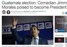 Esta es la portada de CNN Internacional, en la que destacan el triunfo de Jimmy Morales sobre Sandra Torres. (Foto Prensa Libre: CNN)