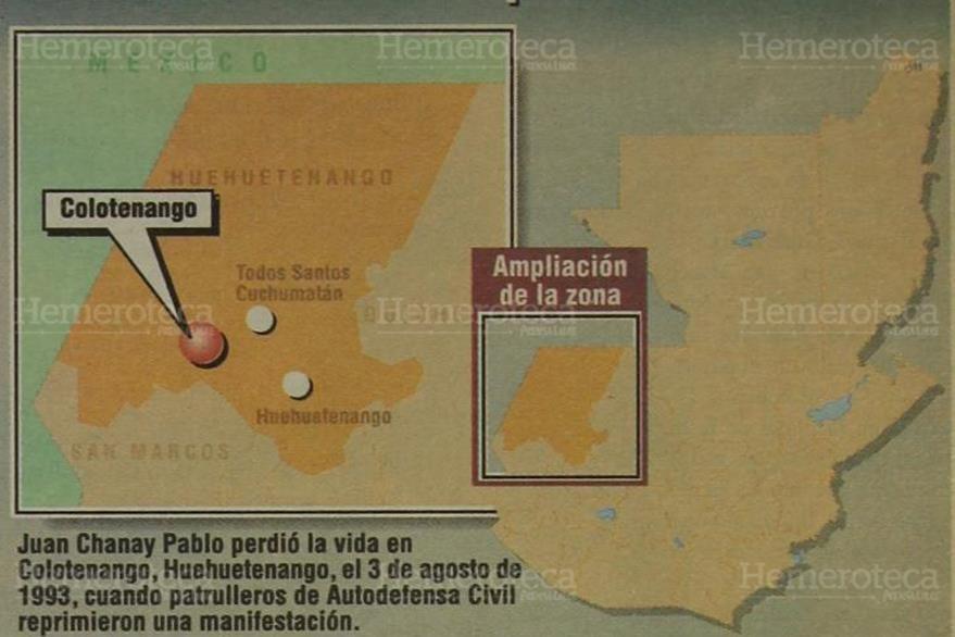 15/02/1998. Escenario del ataque ocurrido en donde murió Juan Chanay Pablo. (Foto: Hemeroteca PL).