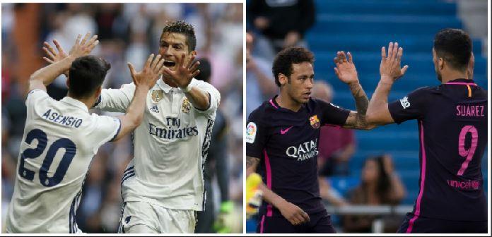 Cristiano marcó un doblete en el Bernabéu, mientras que Neymar y Suárez fuero los anotadores del Barcelona frente a Las Palmas. (Foto Prensa Libre: AFP)