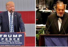 Donald Trump (i), acusa ahora al millonario mexicano Carlos Slim (d) de financiar a HIllary Clinton para desprestigiarlo. (Foto: Agencias).