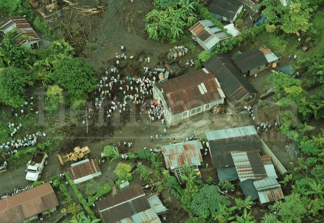 Vista aérea de la destrucción en el Barrio el Calvario en Senahú, Alta Verapaz. (Foto: Hemeroteca PL)
