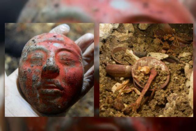 Arqueólogos localizan en la tumba una máscara tallada en jade y huesos pintados de rojo con cinabrio al estilo del Clásico Temprano (250-550 d.C.), de la Civilización Maya. (Foto Prensa Libre: Cortesía de Proyecto Arqueológico Waka´y Ministerio de Cultura y Deportes de Guatemala)