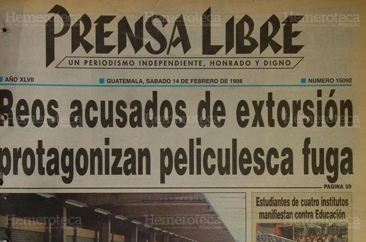 Como en una película de Hollywood, cuatro reos se fugaron de la cárcel de Jutiapa. 14/02/1997. (Foto: Hemeroteca PL)