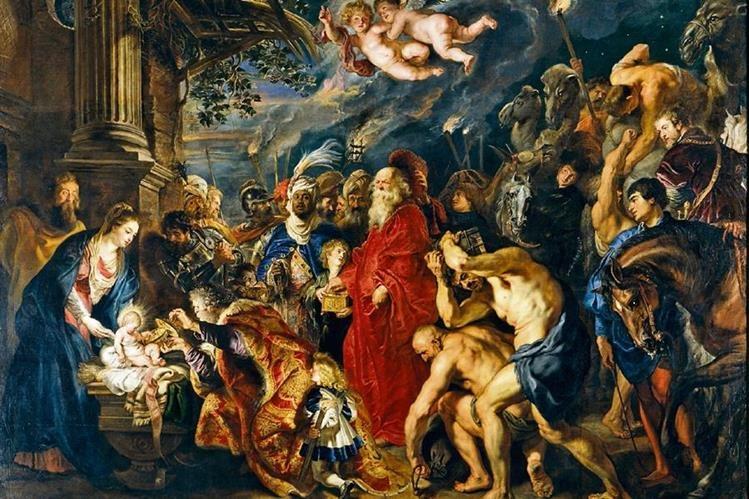 La adoración de los reyes magos, del pintor del barroco Peter Paul Rubens (1577-1640), es considerada una de sus obras maestras. Fue pintada en 1609. Mide 3.55 metros x 4.93 metros. Se conserva en el Museo del Prado, España. En la franja derecha Rubens incluyó su autorretrato. Se representó montado a caballo, con espada y cadena de oro, lo cual refleja la condición nobiliaria que le había concedido en 1624 Felipe IV.