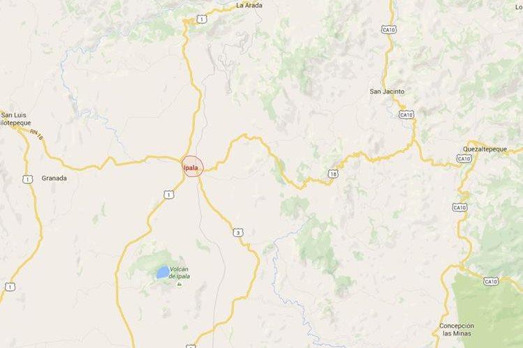 Ubicación de Ipala, Chiquimula. (Fuente: Google Maps)