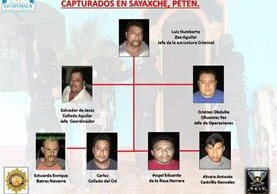 Estructura de secuestradores detenidos en Petén. Foto Prensa Libre: Gobernación.