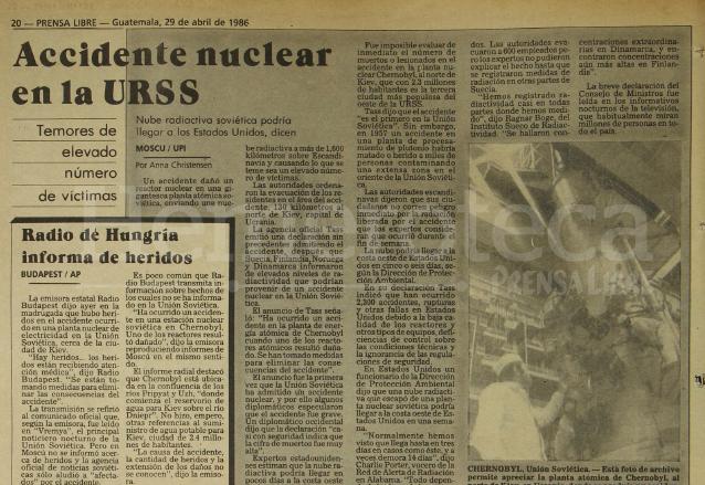 Nota periodística del 29 de abril de 1986 informando sobre el accidente nuclear de la ciudad de Chernobyl, Unión Soviética. (Foto: Hemeroteca PL)
